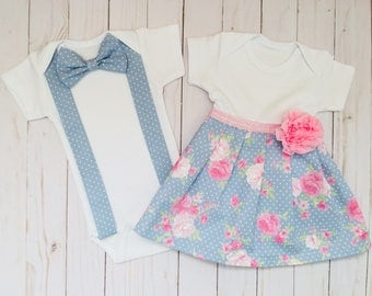 Vintage style SIBLING SET..Brother sister outfits ..shabby chic dress and bow tie onesie or T- shirt -- baby blue and pink