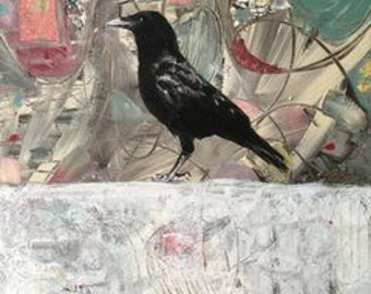 crow raven abstract original large painting
