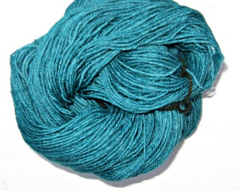 Teal Yarn, Free Shipping, Alpaca, Border Leicester, and Corriedale Wool Yarn, 3 ply Sock Yarn, 250 yards, Grown and Made in Michigan