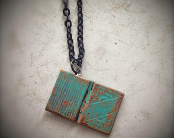 Book locket, turquoise hand painted, on black chain, reader student teacher librarian scholar gift
