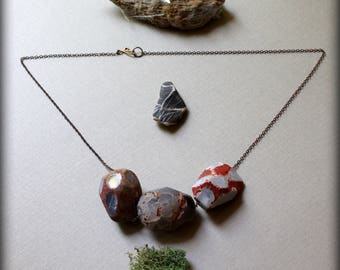 Raw Agate Necklace, Large Stone Pendant Necklace, Long Statement Necklace