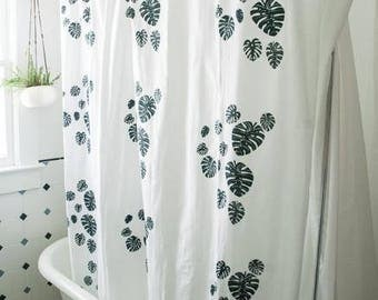 Shower Curtain-Monstera Print