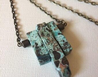 SUMMER SALE Sea Jasper Points Beaded Necklace