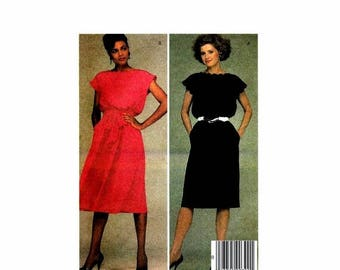 SALE 1980s Misses Scalloped Neck Dress and Tie Belt McCalls 8995 Vintage Sewing Pattern Full Figure Size 20 Bust 42 UNCUT