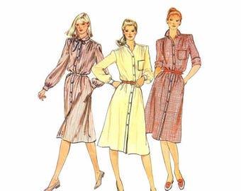 SALE 1980s Misses Shirtdress Front Button Dress Vogue 7924 Vintage Sewing Pattern Size 12 Bust 34 Uncut