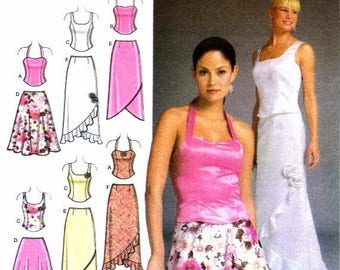 SALE Misses Evening Halter Tops Skirts Purse Simplicity 4990 Sewing Pattern Size 6 - 8 - 10 - 12 Bust 30 1/2 - 31 1/2 - 32 1/2 - 34 Uncut