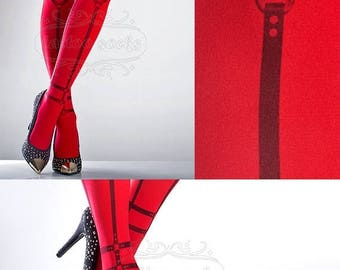 30%off/endsJUL23/ Harness Tattoo Tights red, printed tights, caged pantyhose, bondage, dominatrix, slave tattoo socks