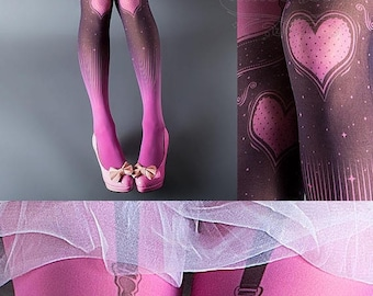 30%off/endsJUL23/ Tattoo Tights, Burlesque Heart magenta pink garters illusion one size full length printed tights pantyhose, by tattoo sock