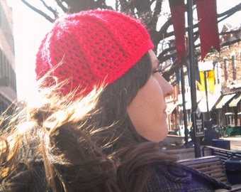 Half Price & Ready to Ship! Candy apple red, ribbed beanie! Sized for woman or teenager