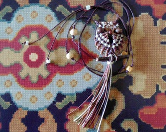 Brown and Beige Macrame Owl Necklace