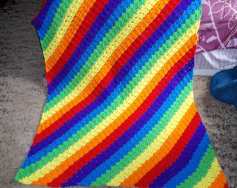 Chasing The Rainbow Afghan Blanket, Corner to Corner, Afghan, Blanket, Throw, Afghan, Lapghan, Rainbow, Ready to Ship,Large size
