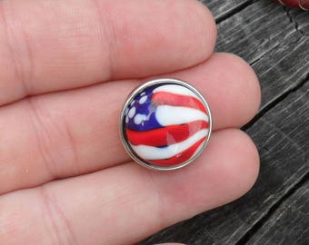 Snap Charm Patriotic American Flag Lampwork Artisan Handmade SRA Glassymom