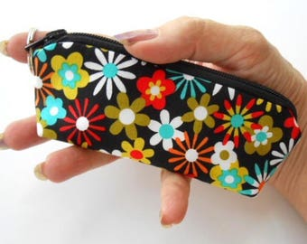 Mini Key Ring Zipper Pouch ECO Friendly Padded Lip Balm Case NEW Aplenty Flowers