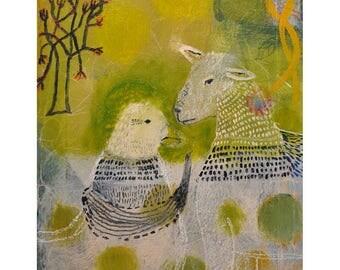 "Original painting ""Sheep and Bird Spring Conversations"""