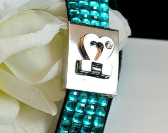 Blue Rhinestone Strap Bracelet with Snap Heart Clasp Vintage Bracelet Blue Bracelet Jewel Snap Bracelet Free Shipping In USA