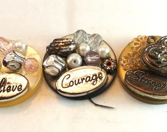 Three Push Pins Thumbtacks Believe Courage Strength Pushpins Thumb Tacks Bead Push Pins Cork Board Accessory