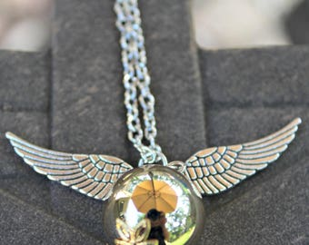 Steampunk Industrial Golden Snitch Harry Potter Necklace with Silver Wings 26 Inch Chain