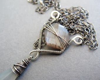 Moonstone Pendant Necklace, Gray Moonstone, Wire Wrapped Necklace, Statement Necklace, Moonstone Necklace, High Quality, Unique, Elegant