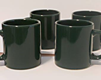 Four Vintage Forest Green Waechtersbach Coffee Cups, coffee mugs, Spanish ceramic mugs, hunter green cups, set of four mugs, plain green