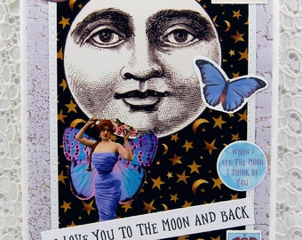 "I Love You To The Moon and Back Greeting Card comes w 1"" Pin Back Button-Full Moon Card-Fairy Card-Mystical Card-Magical-Moon-Crystal Ball"