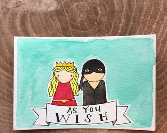 PegBuddies Postcard- the Princess Bride- As You Wish