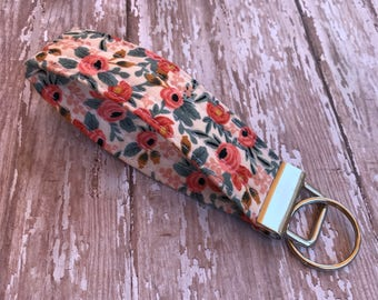 Floral Key Fob Wristlet Key Chain Gift For her Gift Under 10 Fabric Key Ring Les Fleurs Rifle Paper co.