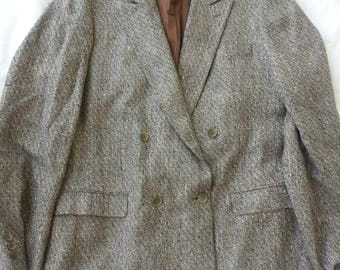 Grey Speckled Tweed Blazer, Stuart Kent Brand, Made in France Wool Silk Blend Breasted Fits Large