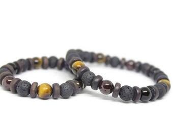 Warrior Wellness Daddy & Me Gemstone Stretch Bracelets /Tigers Eye/ Black Onyx/ Garnet, spiritual healing,yogi stones,mala, Holistic Healing