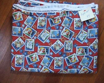 Rare Postage Stamp Cotton Fabric Winter Theme - Destash