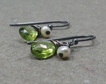 Peridot Earrings White Pearls June, August Birthstone Oxidized Sterling Silver Earrings Gift for Wife
