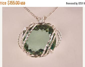 Moving Sale 40% Off Green Amethyst set in a Sterling Silver Pendant