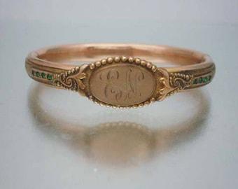 Antique Victorian Bangle Rhinestone Bracelet Engraved EN signed H&H