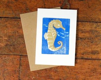 Seahorse Hand Painted Letterpress Lincut card