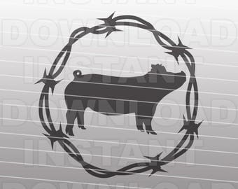 Barbed Wire Show Pig SVG File,Livestock SVG File,Farm Animal SVG -Vector Art for Commercial & Personal Use-Cricut,Cameo,Silhouette,Cut File