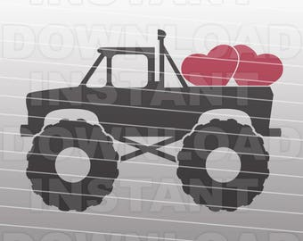 Valentines Monster Truck SVG File,Valentines SVG,Cutting Template-Vector Clip Art for Commercial & Personal Use-Cricut,Cameo,Silhouette
