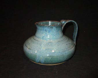 red wine pitcher in mix of blues, stoneware, pottery, dishwasher safe