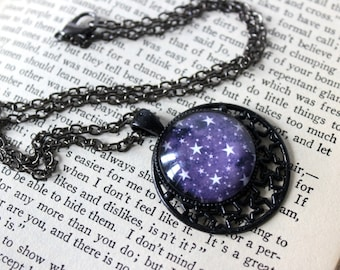 Purple Stars Cabochon Black Necklace - Victorian Vintage Style Witchy Witchcraft Wicca Pagan