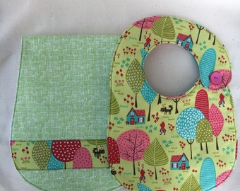 Little Red Riding Hood and Wolf Bib and Burp Cloth Gift Set