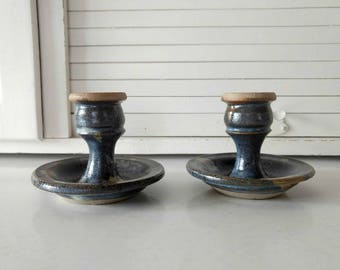 Studio Pottery Candle Sticks / Blue Candlestick Holders / Bohemian Home Decor / Candle Holder / Vintage Candle Sticks / Primitive Home Decor