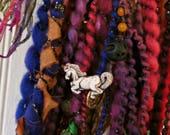 Handspun Art Yarn - Bluefaced Leicester Wool Yarn - Beaded Yarn - OOAK Yarn - Gypsy Yarn - Lady Stardust