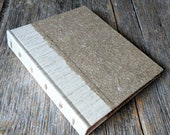 SALE + Free Shipping -- Handbound journal, hardcover with handmade flax paper