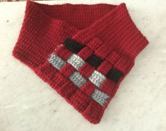 Cranberry Red Crochet Basket Weave Cowl Adult Valentines Gift