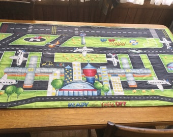 Child Play Mat Airport Runway Quilt With Cotton Batting