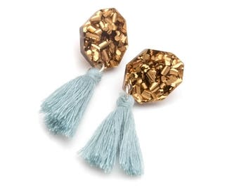 Bronze Glitter Nugget Tassel Earrings - Glitter Drop Earrings - Duck Egg Blue Tassel Stud Earrings - Statement Post Earrings - Gift for Her