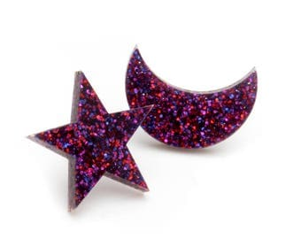 Ruby Glitter Star and Moon Earrings - Glitter Star and Moon Studs - Laser Cut Acrylic Astronomy Earrings - Large Star and Moon Posts
