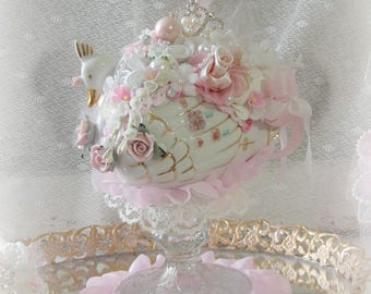 Vintage Swan, Vintage Pink and White Silk Rose Swan Centerpiece,  Cake Topper,  Valentine Centerpiece, Gift Item, Valentines Day