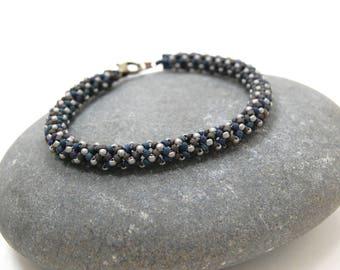 Dark Castle/Herringbone Bracelet/Bangle/Beaded Bracelet/Beadwoven Bracelet/Gift for Her/Handmade Jewelry/Accessory