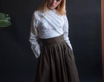 ANNE KLEIN linen full skirt / minimalist cummerbund midi skirt / woven skirt / s / US 6 / 2588t