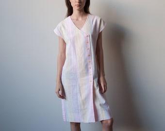 70s linen cotton woven wrap dress / sack dress / easy fit dress / s / m / 2337d