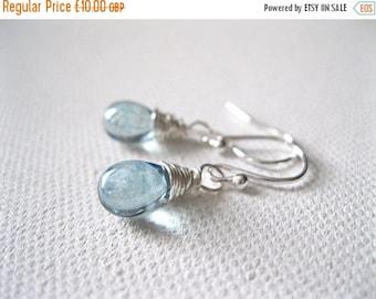 ON SALE Icy Blue Teardrop Earrings. Ice Light Blue Petite Drop Sterling Silver Earrings. Blue Bead Earrings. Wedding Earrings. UK Seller